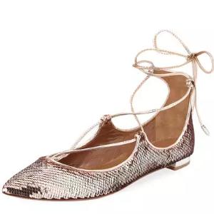 Christy Sequin Ballerina Flat, Rose Gold