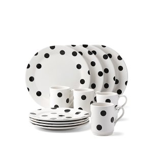 deco dot 12 piece dinnerware set