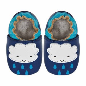 Soft Sole Leather Crib Bootie Baby Shoes - Rainy Days