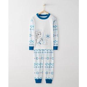 Disney Frozen Elsa Long John Pajamas In Organic Cotton