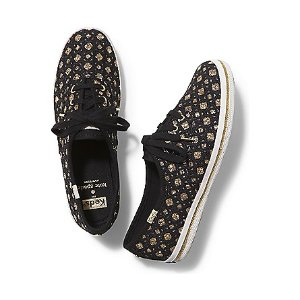 Women - KEDS X kate spade new york CHAMPION GLITTER EMBROIDERY - Gold Black | Keds