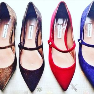 $278 (Org. $695)Tabitha Simmons Hermione Velvet Point Toe Mary Jane Flats @ Saks Fifth Avenue