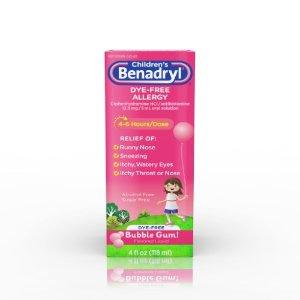Children's Benadryl Allergy Dye Free Liquid, Bubble Gum, 4 Fl Oz | Jet.com