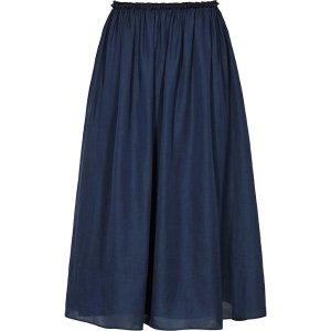 Alissa Blue Smoke Gathered Midi Skirt - REISS
