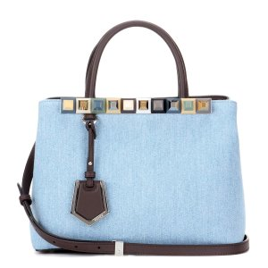 Fendi - 2Jours Petite denim and leather tote