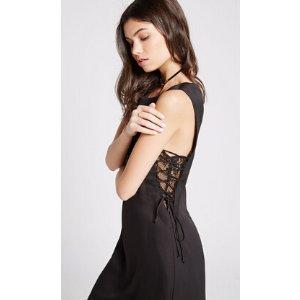 Lace Inset Midi Dress