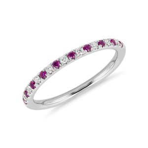 Riviera Pavé Ruby and Diamond Ring in 14k White Gold (1.5mm) | Blue Nile