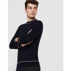Fine sweater with contrasting trim