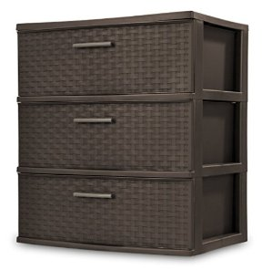 $19.83Sterilite 25306P01 3 Drawer Wide Weave Tower, Espresso Frame & Drawers w/ Driftwood Handles, 1-Pack
