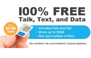 $0.991-Month Unlimited Talk, Text, and Shared 4GB Slim Kit
