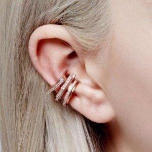 玫瑰金圆环耳夹