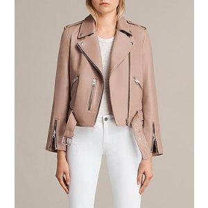 ALLSAINTS US: Womens Balfern Leather Biker Jacket (BLUSH PINK)