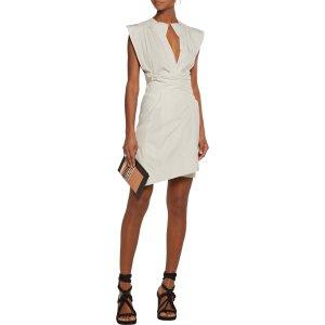 Mina cotton-poplin wrap mini dress