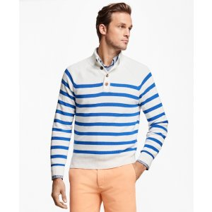 Supima® Cotton Stripe Button Mocneck Sweater - Brooks Brothers