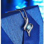 "J.Rosée Jewelry S925 Sterling Silver Pendant Necklace Blue Necklace ""The Eye of Lover"" Exquisite Gift Package(45cm+5)"