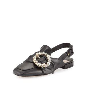 Miu Miu Pearly-Buckle Leather Slingback Flat