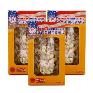 HSU Ginseng American Ginseng Slice M-S 4oz 3-Jar Bundle