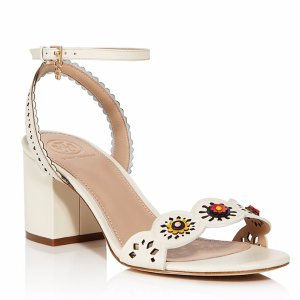 Tory Burch Marguerite Floral Cutout Mid Block Heel Sandals | Bloomingdale's