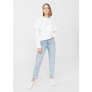Ruffled embroidered sweatshirt -  Women | MANGO USA