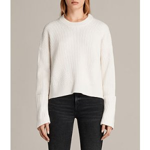 ALLSAINTS US: Womens Pierce Crew Sweater (Chalk White)