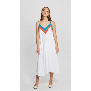 Loose Color Contrast Collar Dress