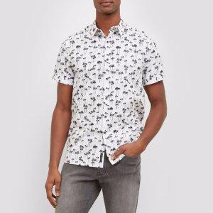 Short-Sleve Palm Tree Shirt | Kenneth Cole