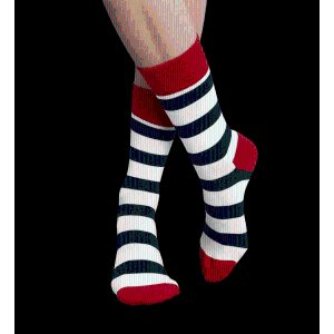 Design Socks with White, Blue and Red Stripes. Buy Happy Feet Socks Online at HappySocks.com
