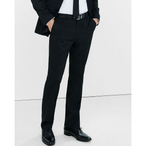 Modern Producer Black Wool Blend Twill Suit Pant