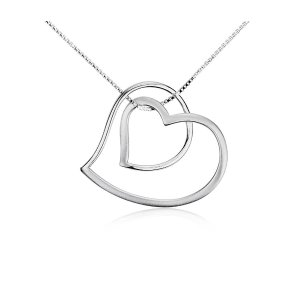 Open Double Heart Pendant in Sterling Silver | Blue Nile