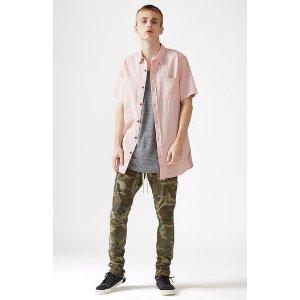 PacSun Linen Blend Extended Length Short Sleeve Button Up Shirt at PacSun.com