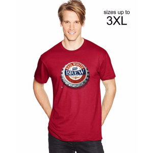 Men's Tee With Red, White & Brew Graphic | Hanes