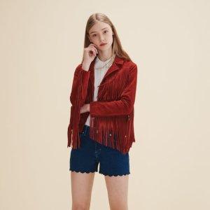 VARCITY Leather fringed jacket