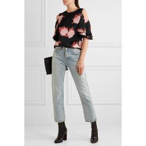 GANNI   Cold-shoulder floral-print satin top