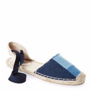 Denim Patchwork Ankle Wrap Flat Espadrilles - Century 21
