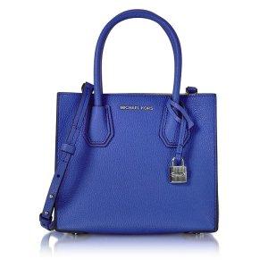 Michael Kors Mercer Medium Electric Blue Pebble Leather Crossbody Bag