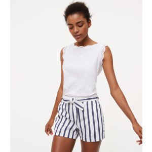 Striped Tie Waist Riviera Shorts | LOFT