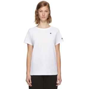 Champion Reverse Weave: White Small Logo T-Shirt