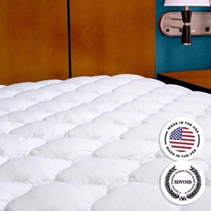From $54.99 eLuxurySupply Mattress Pad with Fitted Skirt - Extra Plush Mattress Topper Found in Five Star Hotels