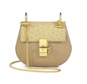 $1849Chloé Drew Mini Ostrich & Leather Saddle Crossbody Bag