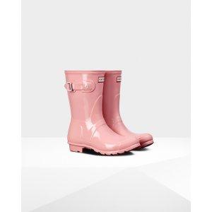 Womens Pink Short Gloss Rain Boots女士短款雨靴