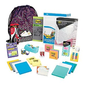 Post-it® & Scotch® Treasure Tote Of Notes, Scissors, Tape, Flags & Pockets, Assorted Colors