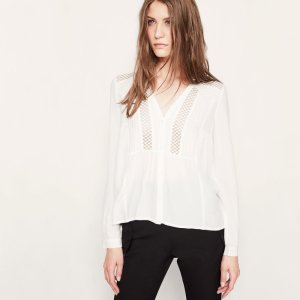 COLOMBE Blouse with lace insets - Tops & T-Shirts - Maje.com