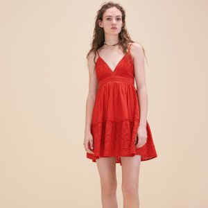 RENDI Embroidered dress with narrow straps - Dresses - Maje.com
