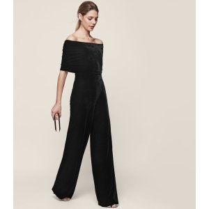 Tami Off-The-Shoulder Velvet Jumpsuit - REISS