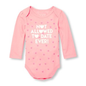 Baby Girls Long Sleeve 'Not Allowed To Date Ever' Heart Print Graphic Bodysuit | The Children's Place