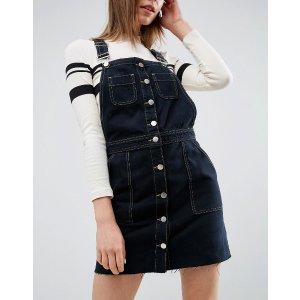 ASOS | ASOS Denim Button Through Overall Dress with Raw Hem in Black