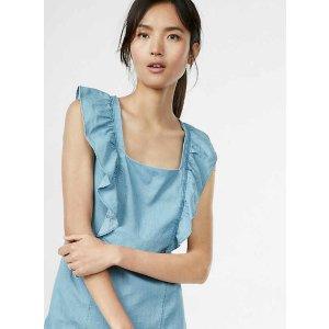 Denim Ruffle Front Sheath Dress