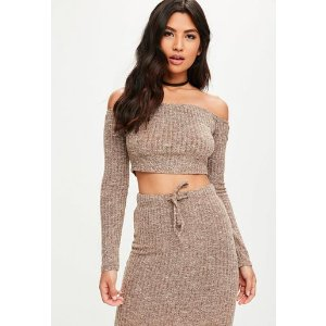 Missguided - Brown Ribbed Bardot Knitted Crop Top
