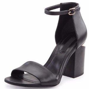 Alexander Wang Abby Leather Tilt-Heel City Sandal, Black