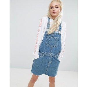 ASOS | ASOS Denim Overall Dress in Mid Wash Blue